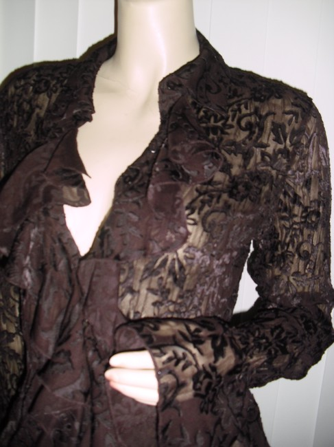 Allison Taylor Pleated Pleated Lace Lace See Through Lace Shapely Pleats Button Down Shirt chocolate brown Image 2