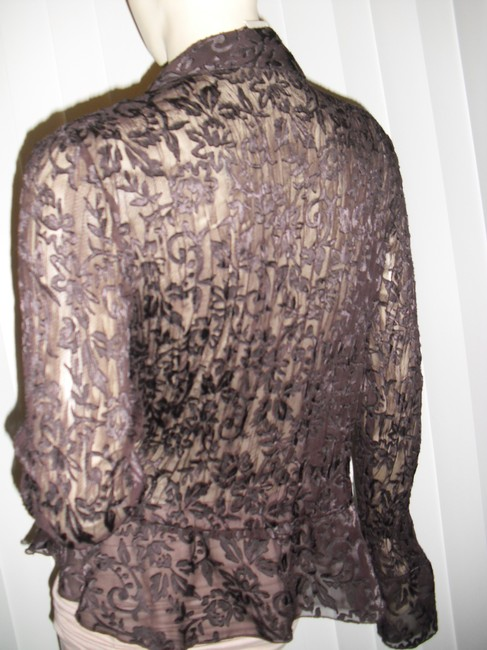 Allison Taylor Pleated Pleated Lace Lace See Through Lace Shapely Pleats Button Down Shirt chocolate brown Image 3