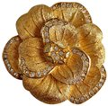 Dior Matte Brushed Gold Tone 3D Flower Crystals Rhinestone Brooch Pin Image 0
