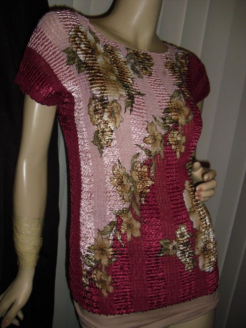 Pleated Top fuschia,gold,cranberry beige,olive green Image 2