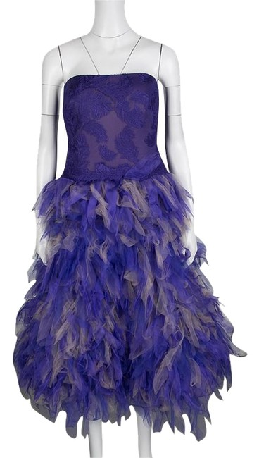 Preload https://img-static.tradesy.com/item/25346390/tadashi-shoji-purple-and-begie-tulle-embroidered-faux-feather-strapless-mid-length-night-out-dress-s-0-1-650-650.jpg