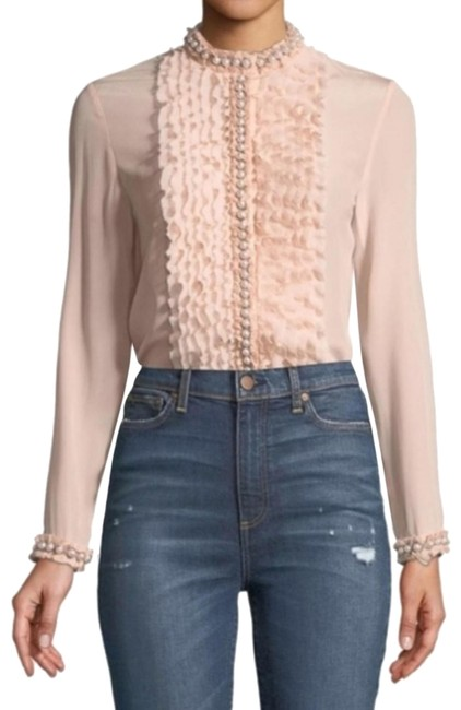 Preload https://img-static.tradesy.com/item/25346396/alice-olivia-blush-pink-pearl-trim-shirt-sold-out-button-down-top-size-2-xs-0-10-650-650.jpg
