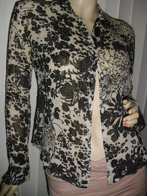 Ann Taylor LOFT Silk Body Fit Flower Lace Printed Lace Silk Tapered Silk Button Down Shirt beige black Image 1