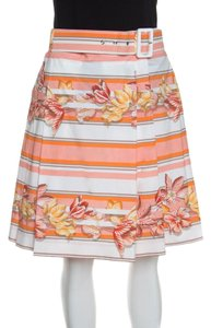 Salvatore Ferragamo Cotton Belted Pleated Mini Skirt Multicolor