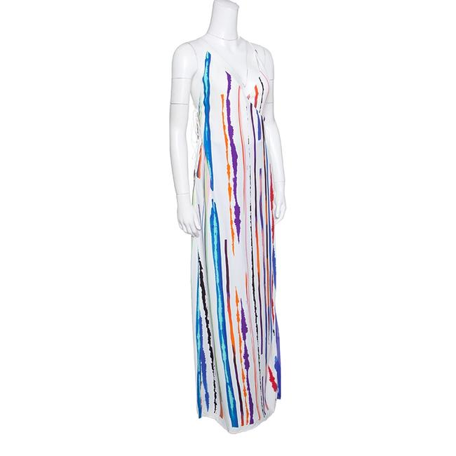 White Maxi Dress by Emilio Pucci Striped Pleated Tie Detail Maxi Image 1