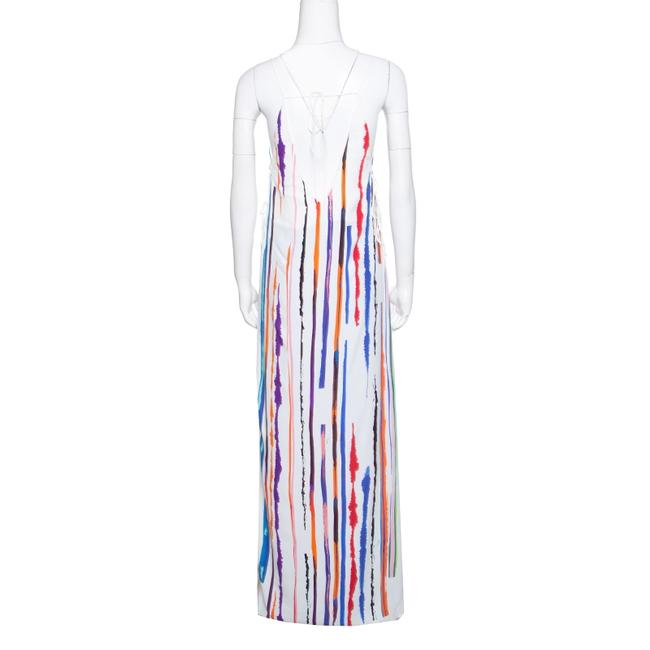 White Maxi Dress by Emilio Pucci Striped Pleated Tie Detail Maxi Image 2