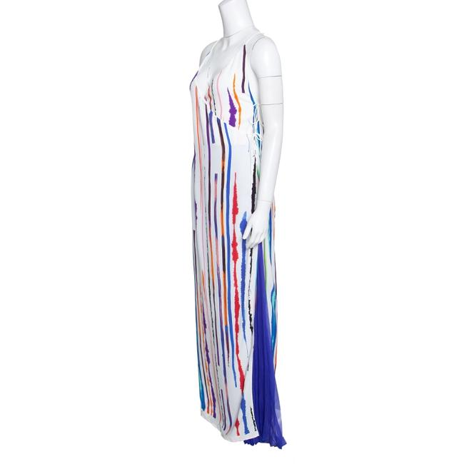 White Maxi Dress by Emilio Pucci Striped Pleated Tie Detail Maxi Image 3