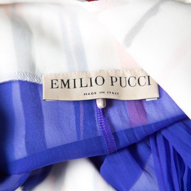 White Maxi Dress by Emilio Pucci Striped Pleated Tie Detail Maxi Image 4