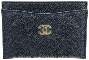 Chanel Black Caviar Quilted O-card Holder Wallet