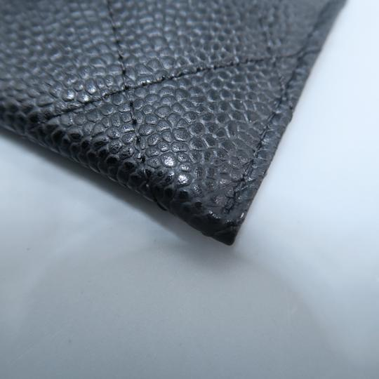 Chanel Black Caviar Quilted O-card Holder Wallet Image 8