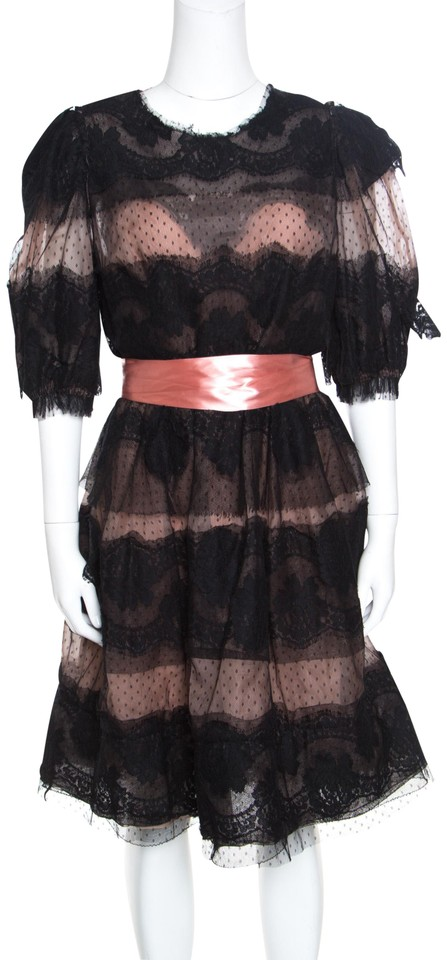 Dolcegabbana Black L And Blush Pink Floral Scalloped Lace Belted Mid Length Night Out Dress Size 12 L 75 Off Retail
