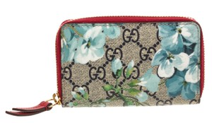 Gucci Gucci GG Supreme Blossoms Zippy Card Holder Wallet
