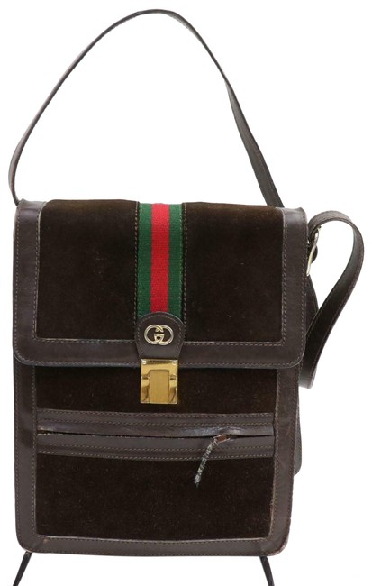 Item - Vintage Body/Shoulder Purse Brown Suede/Red/Green Stripe Leather Messenger Bag