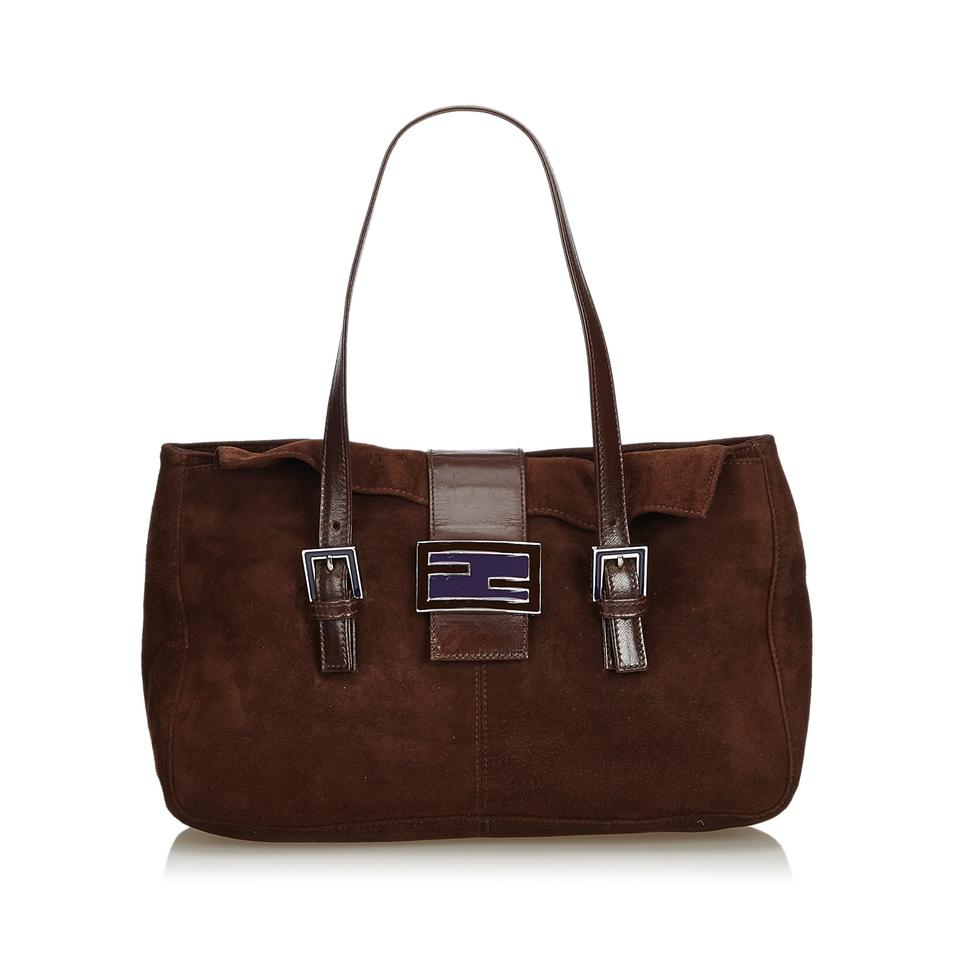 36559b592ee Fendi Bag Dark Suede Suede Italy Large Brown Leather Tote - Tradesy