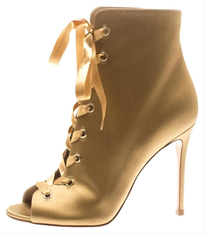 aa3854ab43988 Gianvito Rossi Gold Satin Marie Peep Toe Lace Up Ankle Boots/Booties ...
