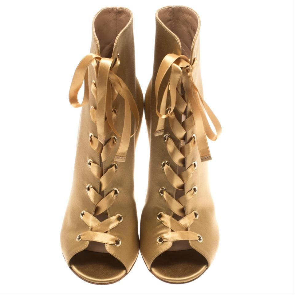6ac30c2d81e Gianvito Rossi Gold Satin Marie Peep Toe Lace Up Ankle Boots/Booties Size  EU 40 (Approx. US 10) Regular (M, B) 53% off retail
