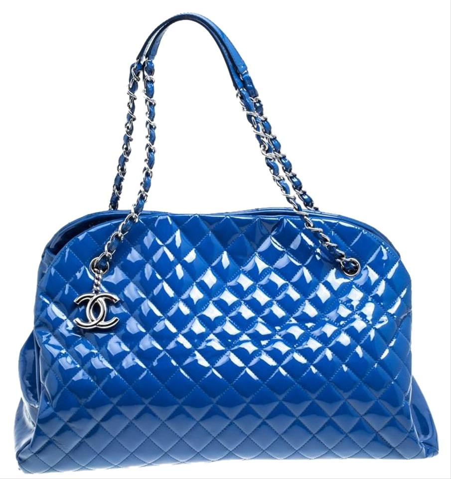 2b77a946371199 Chanel Mademoiselle Bowling Bag Quilted Large Just Blue Patent Leather  Satchel