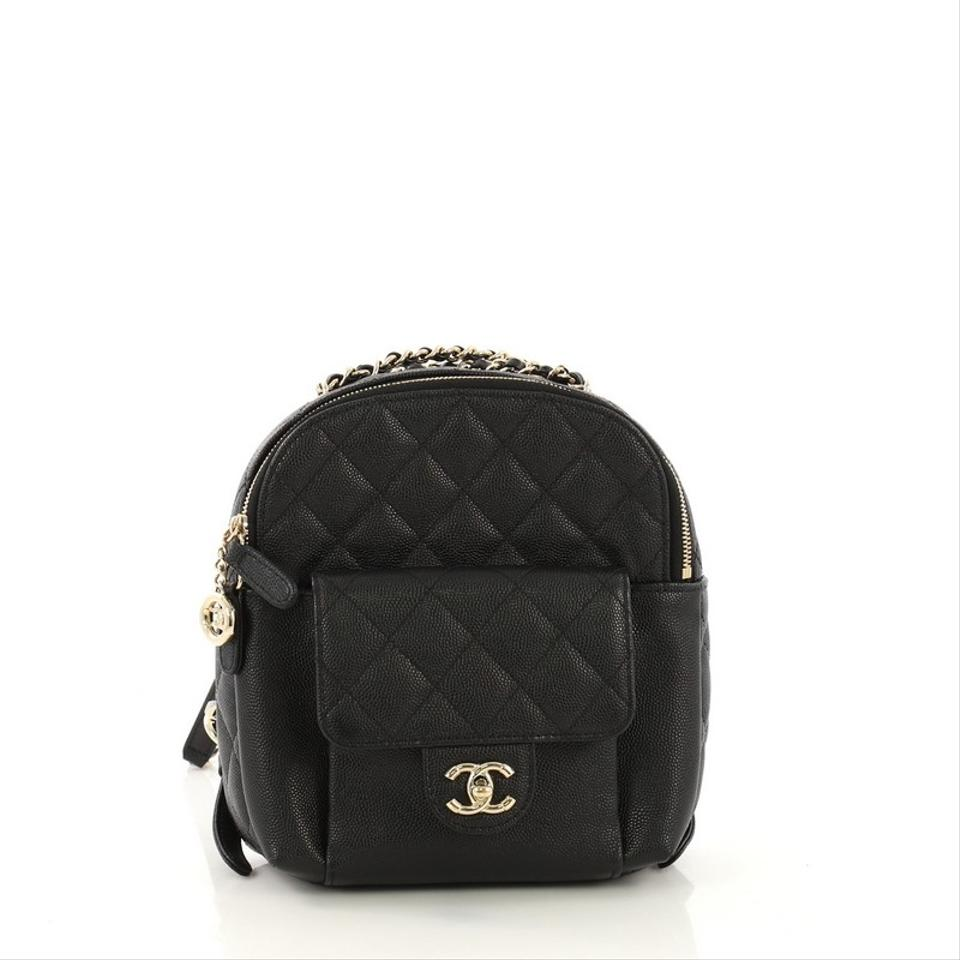 b3236218f86b Chanel Backpack Cc Day Quilted Caviar Mini Black Leather Backpack ...