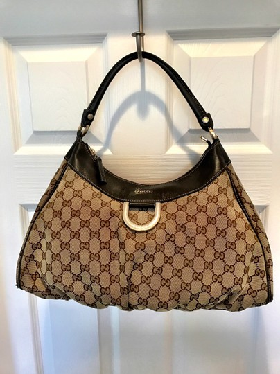 5029dc61944d0c Gucci D Ring Hobo Beige and Brown Canvas Leather Shoulder Bag - Tradesy