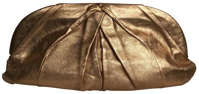 Item - Large Oversized Metallic Gold Leather Clutch