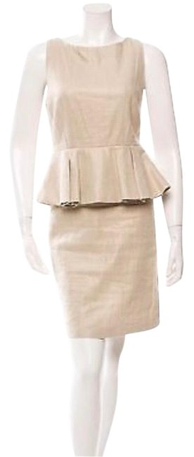 Item - Light Gold Beige Sleeveless Peplum Short Cocktail Dress Size 0 (XS)