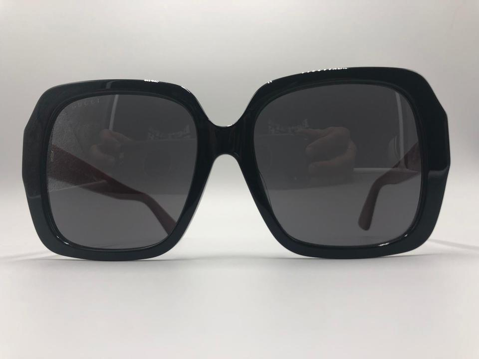 d92ca6a9261 Gucci Black Square Frame Red Temple Gg0096sa 004 55-18-145 Made In Italy  Unisex Sunglasses