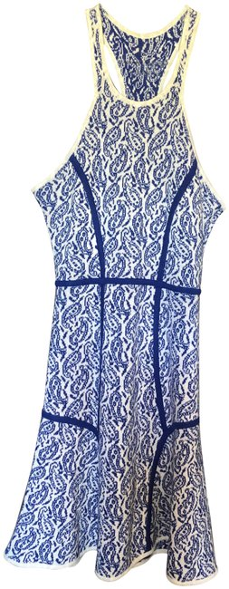 Item - Blue/White Intarsia Cut Out Racer Back Short Casual Dress Size 8 (M)