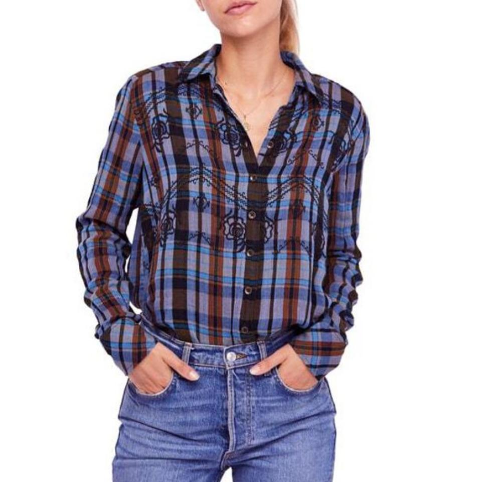 8ab68ae4 Free People Black Magical Plaid Embroidered Button-down Top Size 2 ...