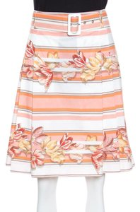 Salvatore Ferragamo Cotton Belted Pleated Skirt Multicolor