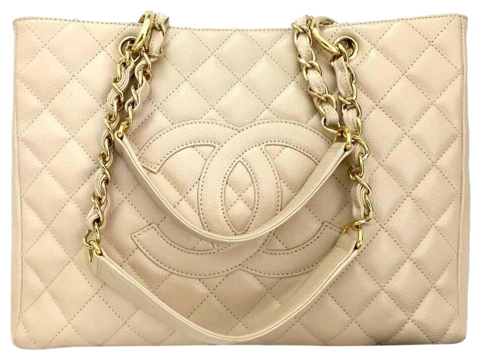 839710a59bbe38 Chanel Shopping Tote Quilted Matelasse Caviar Skin Chain Grand Beige  Leather Shoulder Bag