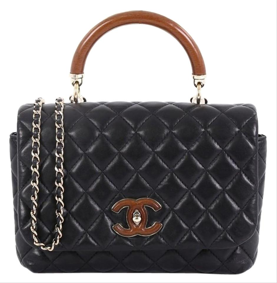 9fa683c354 Chanel Top Handle On Wood Quilted Mini Black Lambskin Leather Cross Body Bag