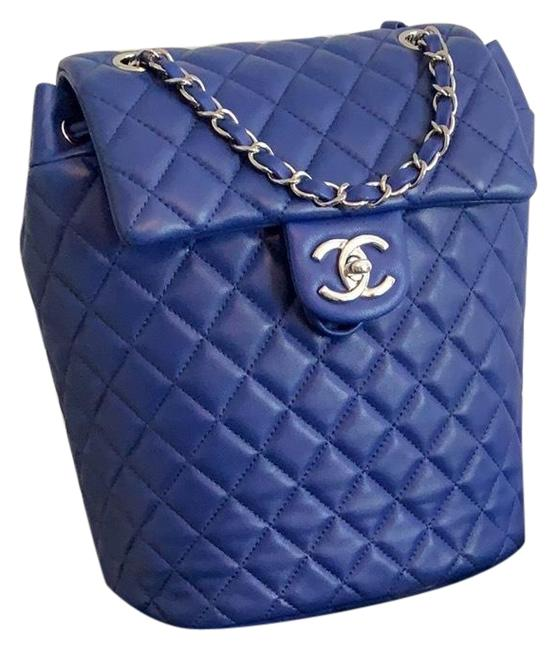 Item - Quilted In with Shw Blue Lambskin Leather Backpack