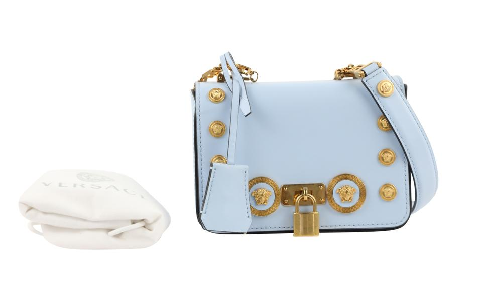 0f4b135d08 Versace Small Medusa Stud Icon Blue Calfskin Leather Cross Body Bag 51% off  retail