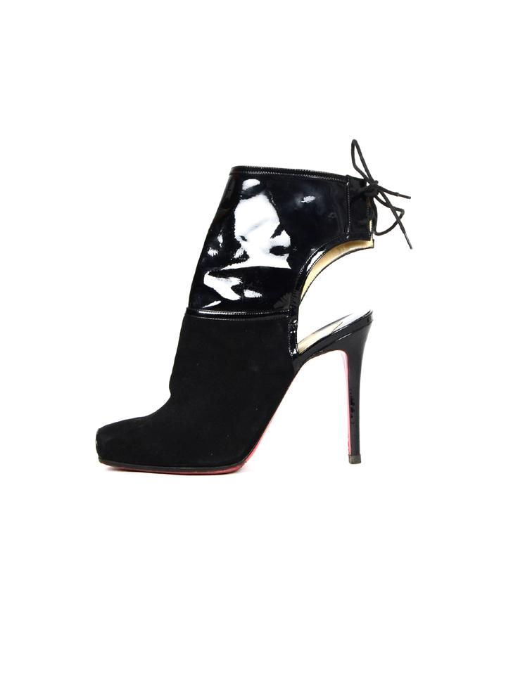 8e5b48d87c1 Christian Louboutin Black Suede/Patent Open Ankle Tie Boots/Booties Size EU  38 (Approx. US 8) Regular (M, B)