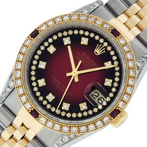 Rolex Mens Datejust Ss/Yellow Gold with Red Vignette Diamond Dial Watch