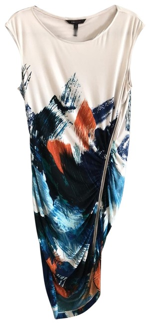 Item - Slightly Off White Splashes Of To Dark Blue Mixed with Orange/Brown Colors. Tie-dyed Look. L Bluedepcob / Long Night Out Dress Size Petite 12 (L)