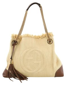 Gucci Straw And Leather Shoulder Bag