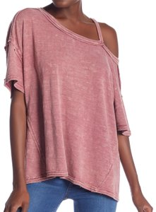 e26c02b8 Free People Cut-out One Shoulder Cotton Stretchy T-shirt T Shirt Pink