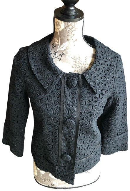 Item - Black Eyelet Linen Jacket Size 6 (S)