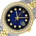 Rolex Mens Datejust Ss/Yellow Gold with Blue Vignette Diamond Dial Watch Image 0