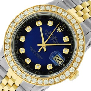 Rolex Mens Datejust Ss/Yellow Gold with Blue Vignette Diamond Dial Watch