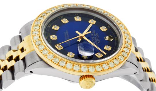 Rolex Mens Datejust Ss/Yellow Gold with Blue Vignette Diamond Dial Watch Image 4