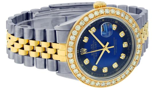 Rolex Mens Datejust Ss/Yellow Gold with Blue Vignette Diamond Dial Watch Image 5