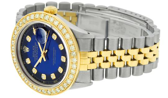 Rolex Mens Datejust Ss/Yellow Gold with Blue Vignette Diamond Dial Watch Image 6