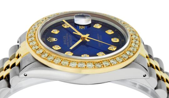 Rolex Mens Datejust Ss/Yellow Gold with Blue Vignette Diamond Dial Watch Image 8