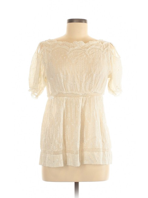 BCBGMAXAZRIA Silk Eyelet Open Shoulder Lace Cut-out Top Ivory Image 2