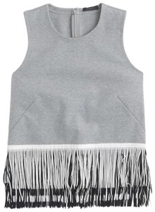 J.Crew Top grey with black and white fringe