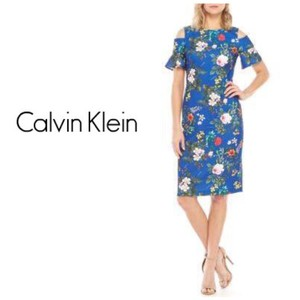 Calvin Klein Sheath Cold Shoulder Floral Midi Crew Neck Dress
