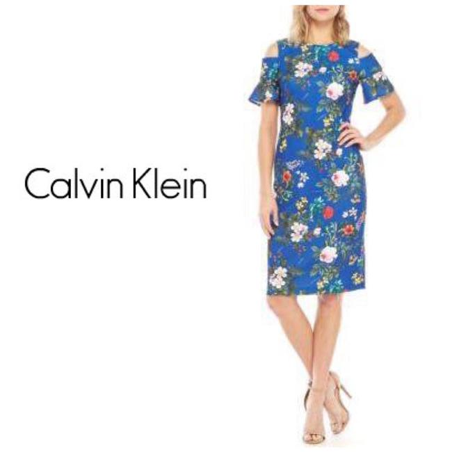 Preload https://img-static.tradesy.com/item/25349904/calvin-klein-blue-short-cold-shoulder-sleeve-floral-sheath-mid-length-cocktail-dress-size-4-s-0-0-650-650.jpg