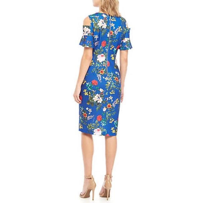 Calvin Klein Sheath Cold Shoulder Floral Midi Crew Neck Dress Image 1